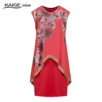 KAIGE Nina Designer Dress Women Ladies Elegant Vintage Flower Floral Printed Dress Casual Dress Party Dress