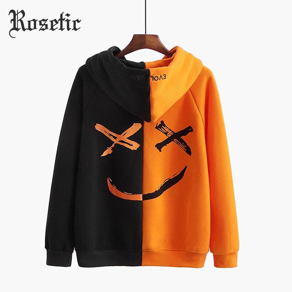 Rosetic Hoodies Gothic Black White Coat Rock Oversized Hoodie Halloween Women Autumn Loose Casual Sweatshirts Hip Hop Crop Top
