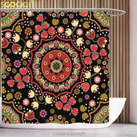 Stylish Shower Curtain Mandala Decor Indian Spiritual Floral Motif with Middle Eastern Islamic Influences Image Emerald Red
