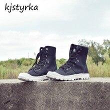 Kjstyrka botas botines mujer 2018 moda casual lona de alta top inverno confortável outono mulheres botas Antiderrapante bota feminina