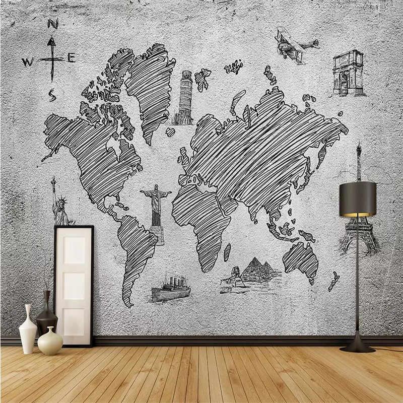 Mapa świata Nordic art ściana tła profesjonalnej produkcji mural fabryki hurtownia tapety ścienne plakat fototapeta