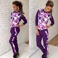 2017 Сексуальная мода дизайн полный рукав длинный комбинезон печати комбинезоны тренировочный костюм женщины повседневная комбинезон WY6206