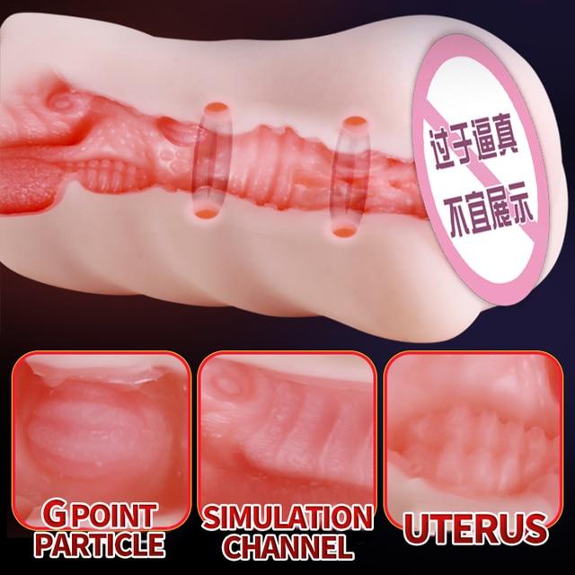 OMYSKY Realistic Male Masturbator Aritificial Vagina Pocket Deep Throat With Tongue Suck Realistic Pussy Oral Sex Toys for Men 4