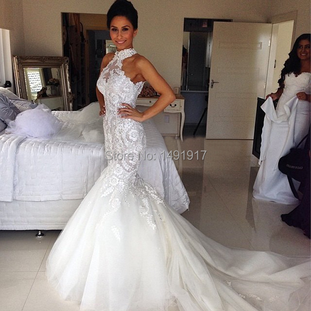 Best Wedding Gowns 2015: Newest High Quality Sheer Appliques Elegant Mermaid Lace