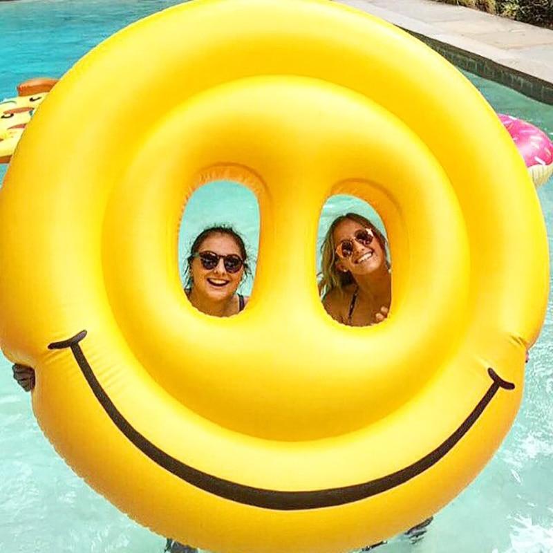 160 cm géant LOL Emoji piscine flotteur sourire visage Air matelas eau fête jouets gonflables Lie-on natation anneau plage chaise longue Boia
