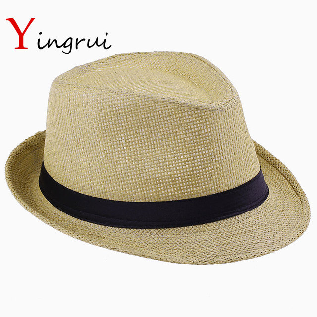 edb0b20ac81 US $4.4 10% OFF|Aliexpress.com : Buy Fashion Hats for Women Fedora Trilby  Gangster Cap Summer Beach Sun Straw Panama Hat with Ribbow Band Sunhat from  ...