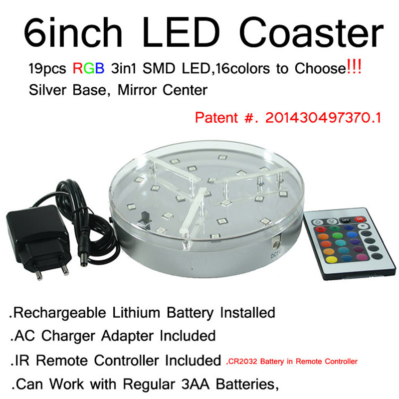 Rechargeable Decorative LED Centerpiece Light Base 19pcs SMD5050 RGB Multicolors With Remote Controller