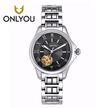 ONLYOU Women Watches Luxury Brand Simple Skeleton Automatic Mechanical Wristwatches All Steel Watchband Men's Watches Wholesales