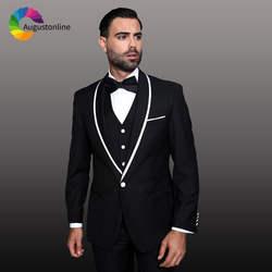 Черные мужские костюмы Белый шаль нагрудные Жених Свадебный Смокинг Slim Fit Best человек пиджаки для женщин 3 предмета куртка костюм Homme Ternos