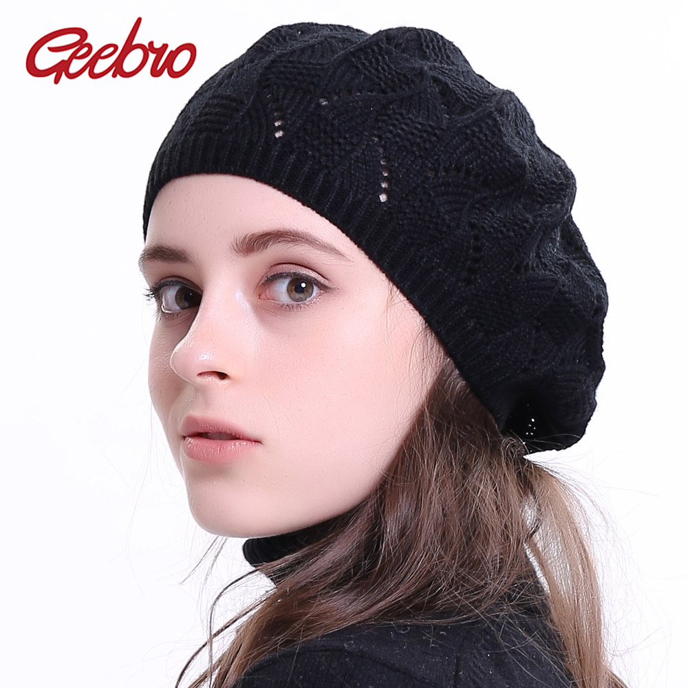 4b8c480dcf2e3 Geebro Women s Plain Color Knitted Beret Hat Ladies French Artist Beret  Hats Spring Casual Thin Acrylic