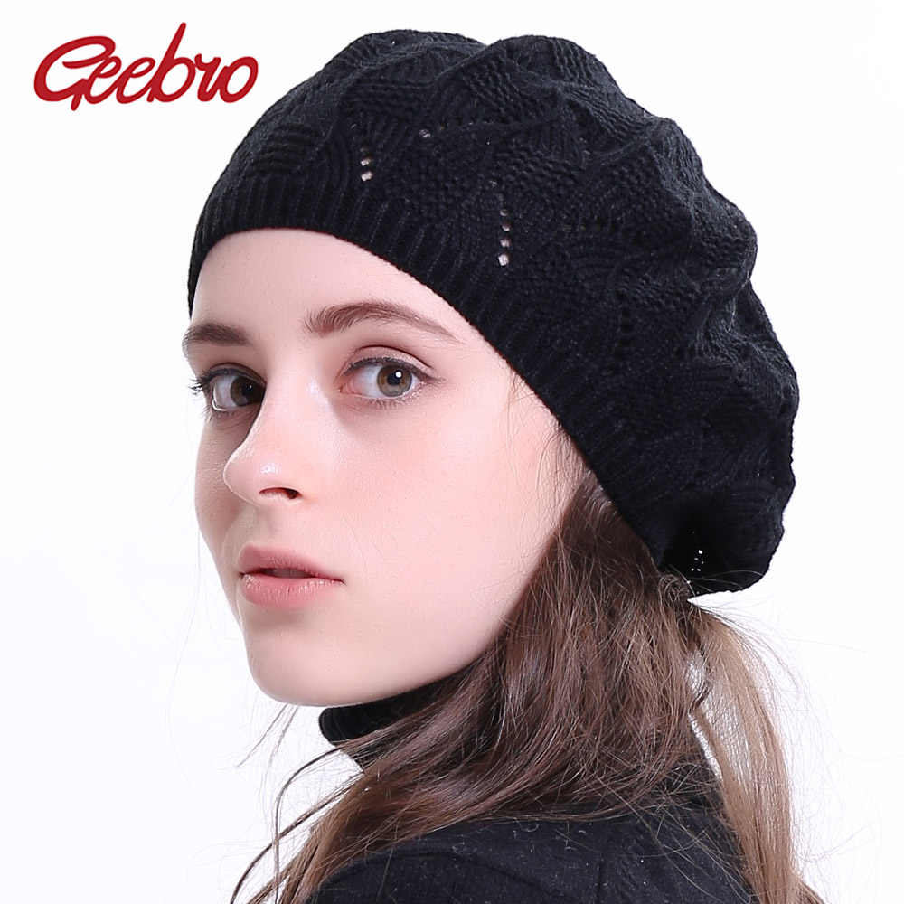 Geebro Women's Plain Color Knitted Beret Hat Ladies French Artist Beret Hats Spring Casual Thin Acrylic Berets for Women Beanie
