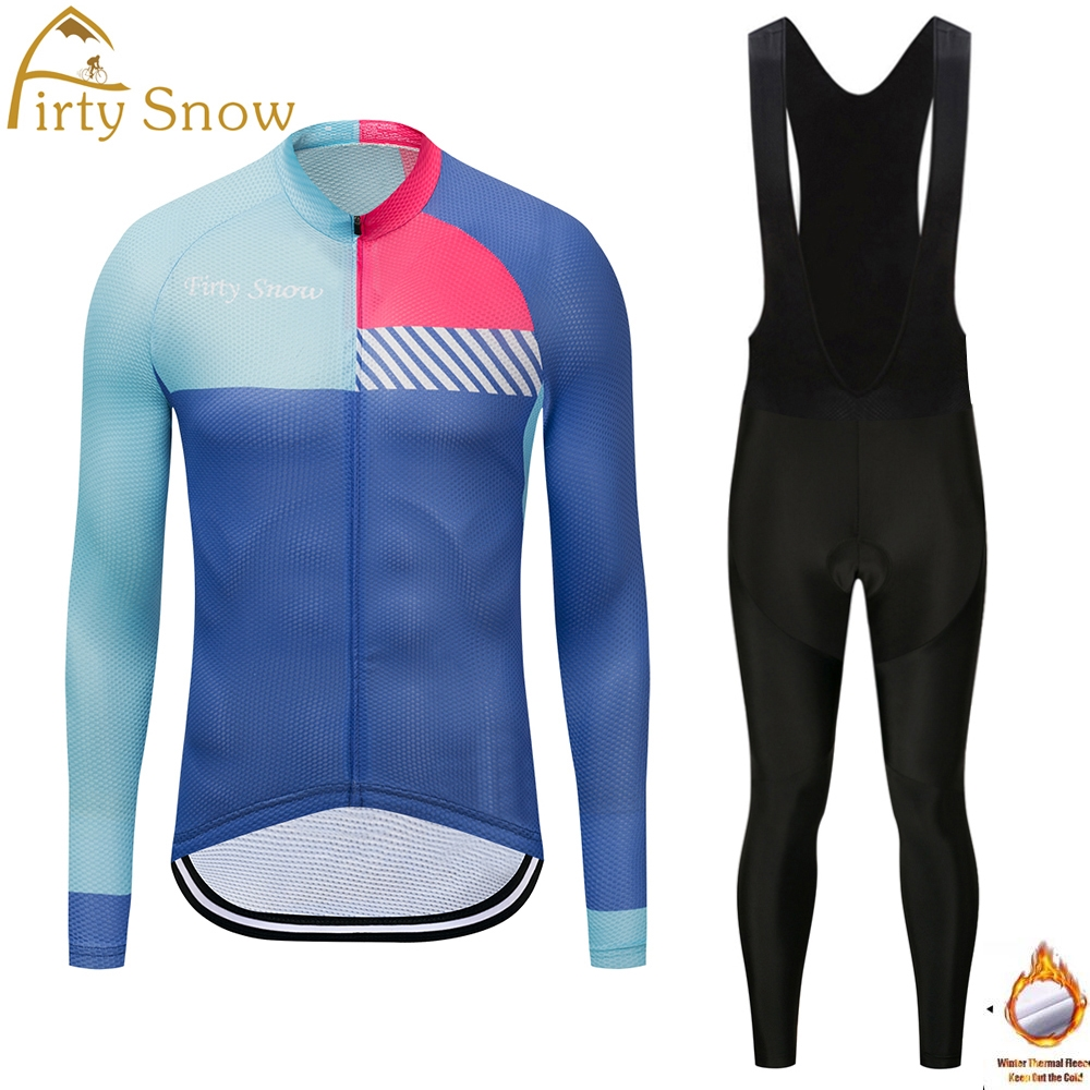 Firty Snow Winter thermal Fleece cycling clothing long sleeve Pro cycling jersey Bycle bib long pants Sets Gel Padded