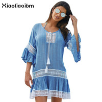 White Beach Dresses Women Sexy Smock Lace Joint Neckline Bandage Horn Sleeve Easy Sunscreen Sandy Swimsuit