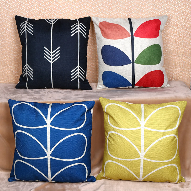 European Style Flax Leaf Pillowcase Cushion Cover Home Decorative Pillow Case For Car Sofa Cushion Home Textile 450x450mm F