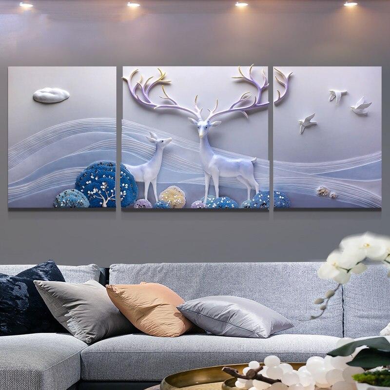 Nordique salon peinture décorative décoration de la maison moderne style minimaliste en relief murale atmosphère canapé backgro