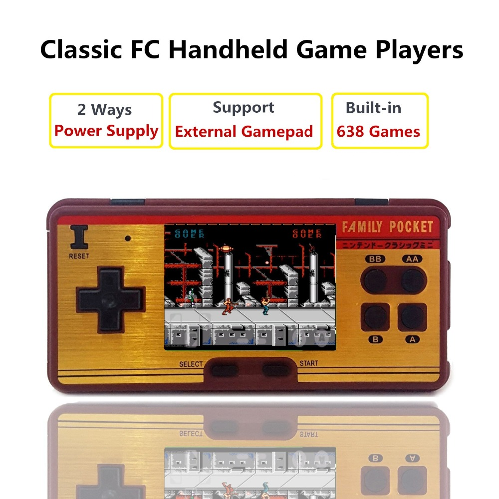 8 Bit 3 inch Retro Mini Portable Handheld Game Players Family Pocket Built-in 638 Classic Games Video Game Console to TV Gamepad