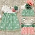 2016 atacado meninas do bebê polka dot vestido de tutu vestido de manga curta roupas de verão bebê recém-nascido