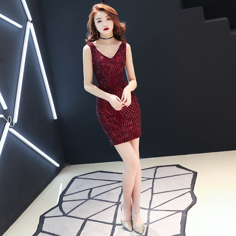 New Burgundy Sequin   Cocktail     Dress   Nermaid Sexy V Neck Women Short Prom Gown Lady Wedding Party   Dresses   Gaun Malam