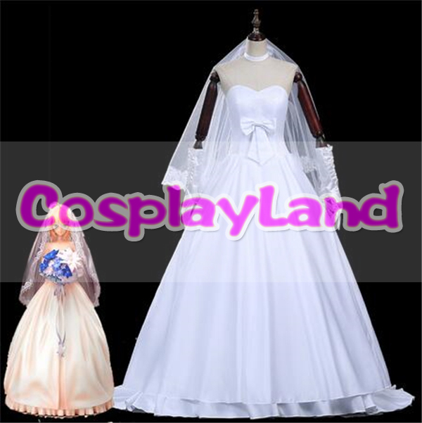 Fate Zero Saber Cosplay Costume 10th Anniversary Party Saber Wedding Dress Halloween Costumes for Adult Women Saber Costume