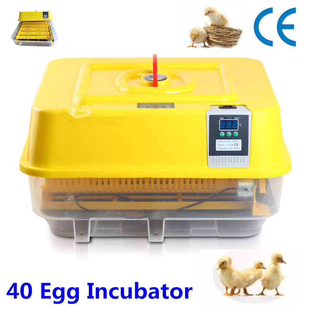 New 40 eggs Incubator Automatic turn eggs Thermostat Chicken Poultry Quail Bird Incubator new 39 eggs full automatic incubator