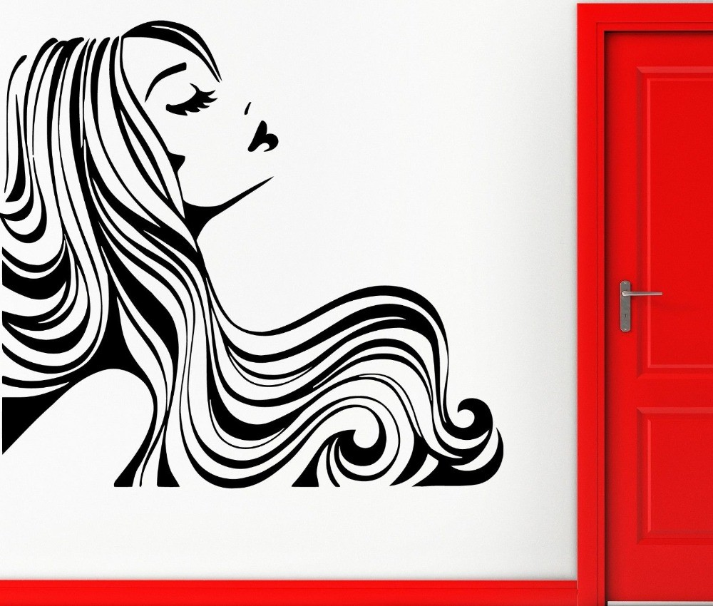 Us 892 25 Offhigh Quality Beauty Salon Girl Beautiful Hair Morden Wall Sticker Vinyl Art Wallpaper For Home Bedroom Art Decoration Y 382 In Wall