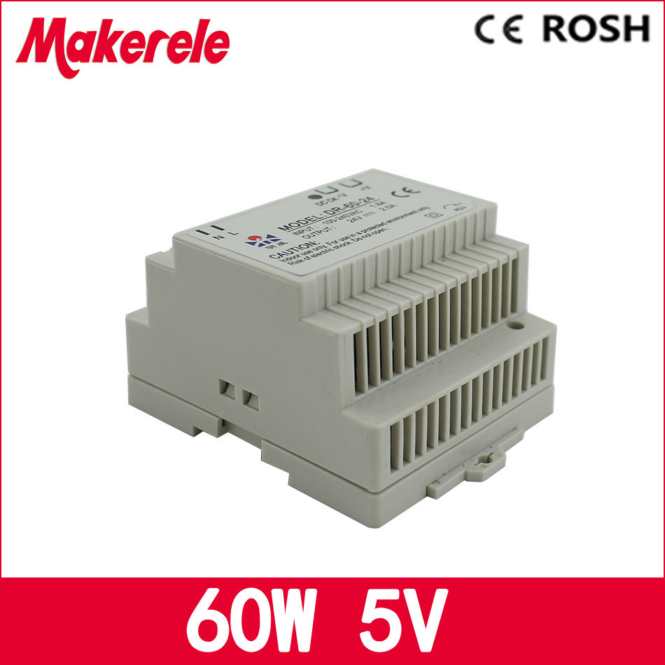 Din rail power supply 60w 5V power suply 5v 60w ac dc converter dr-60-5 good quality from china factory ac dc dr 60 5v 60w 5vdc switching power supply din rail for led light free shipping