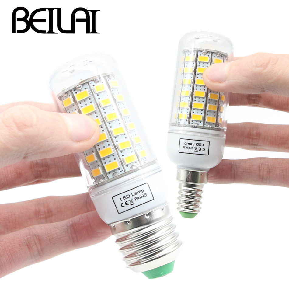 BEILAI SMD 5730 Lampada LED Lamp E27 220V Corn Light E14 LED Bulbs 220V Chandelier Candle Luz 36 48 56 69 72 81 89 96 120LEDs