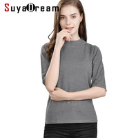 Women Pullovers 85%Real Silk 15%Cashmere Half Sleeved Sweaters For Women 2018 FALL Winter Bottoming knitwear Black Navy