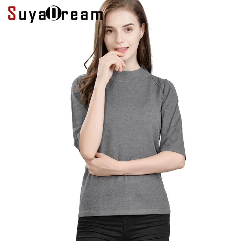 Pullovers 85% real seda 15% cashmere meia mangas blusas para mulher 2018 outono inverno bottoming malhas preto marinha