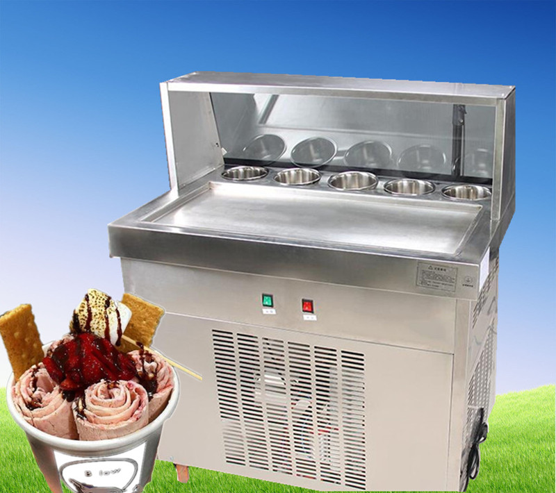 freight free CECertification fried ice cream machine,fried ice machine, single square pan  ice pan machine ice cream machine square pan rolled fried ice cream making machine snack machinery