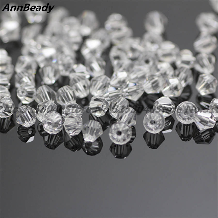 100pcs Clear White Color 4mm Bicone Crystal Beads Glass Beads Loose Spacer Beads DIY Jewelry Making
