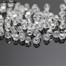 100pcs Clear White Color 4mm Bicone Crystal Beads Glass Beads Loose Spacer Beads DIY Jewelry Making Austria Crystal Beads