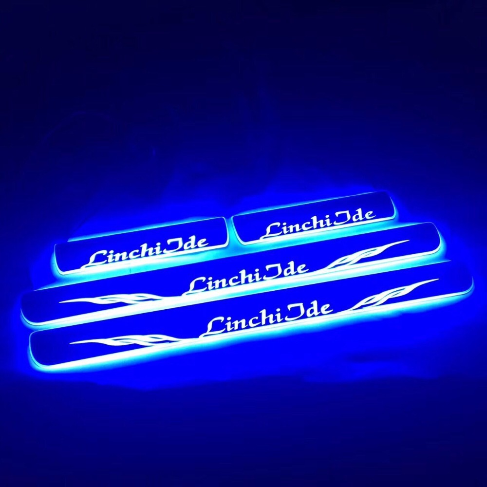 special brithday gift custom made moving acrylic LED DOOR SCUFF SILL PANEL STEP PLATES Car light for Porsche Macan