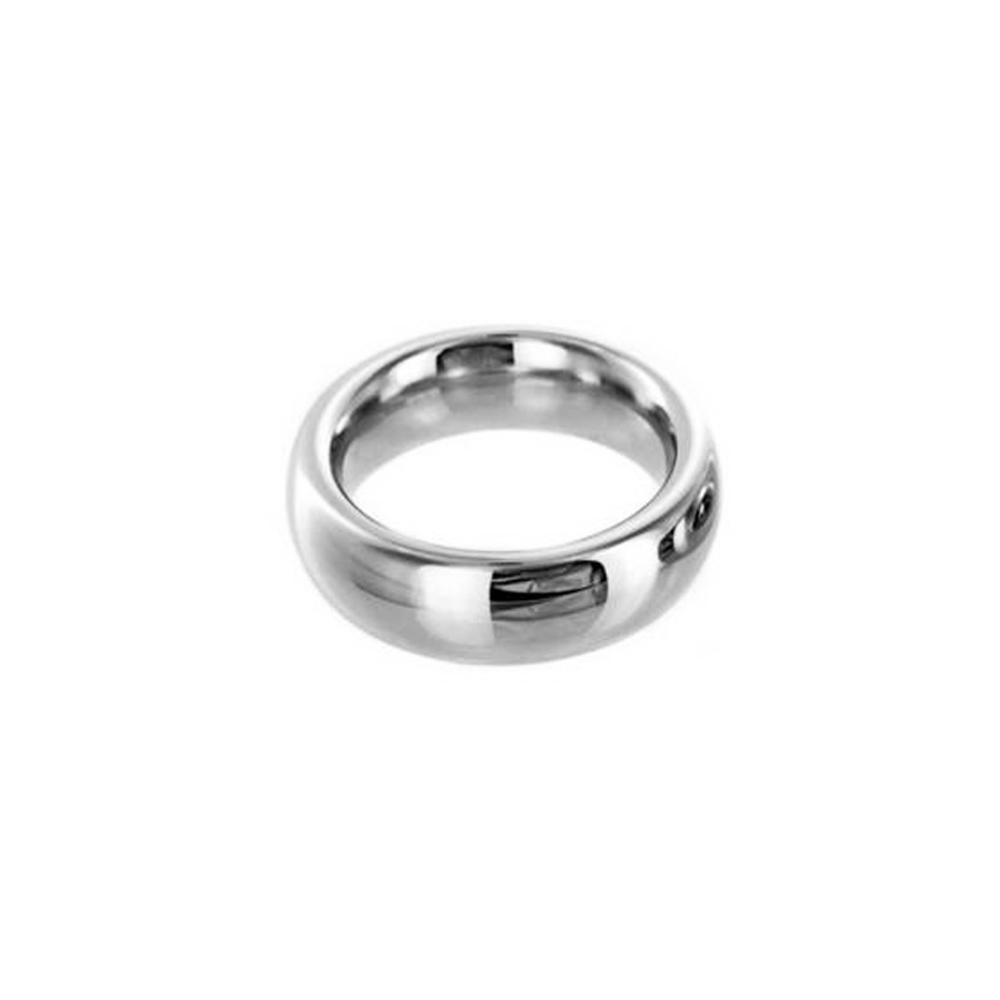 Extra wide stainless steel grooved cock ring
