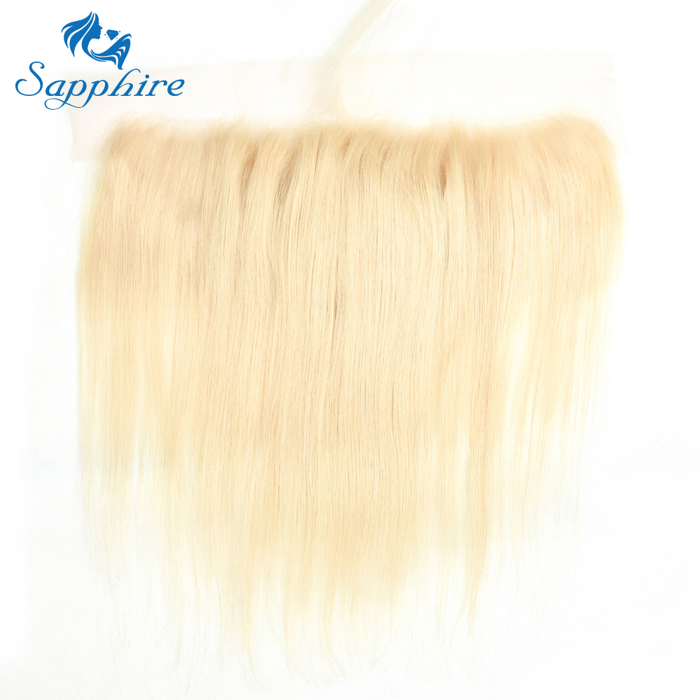 Sapphire Brazilian Straight Human Hair 13 4 Ear to Ear Lace Frontal With Baby Hair 613