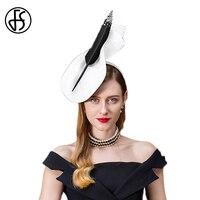 FS Fascinators For Women Elegant Sinamay Pillbox Hat Vintage Church Fedora Black Gray Ladies Wedding With Feather Cocktail Hats