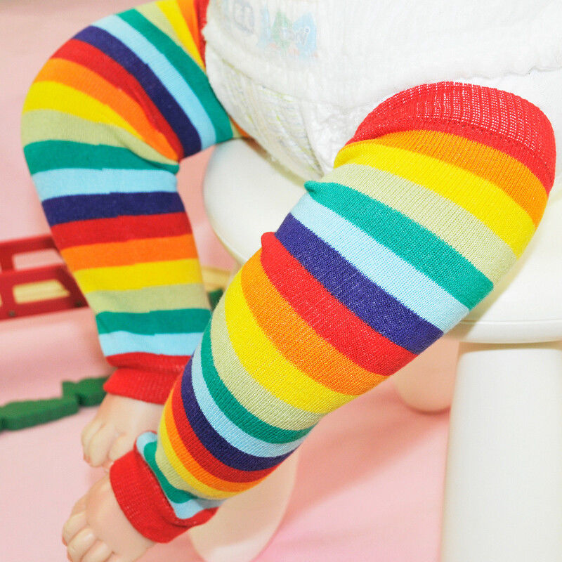 Newborn Toddler Kids Boy Girl Winter Leg Warmer Tights Cute Rainbow Stripe
