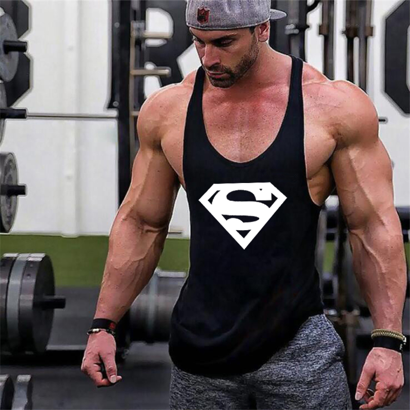 New Arrivals Bodybuilding stringer   tank     top   Superman Gyms sleeveless shirt men Fitness Vest Singlet sportswear workout tanktop