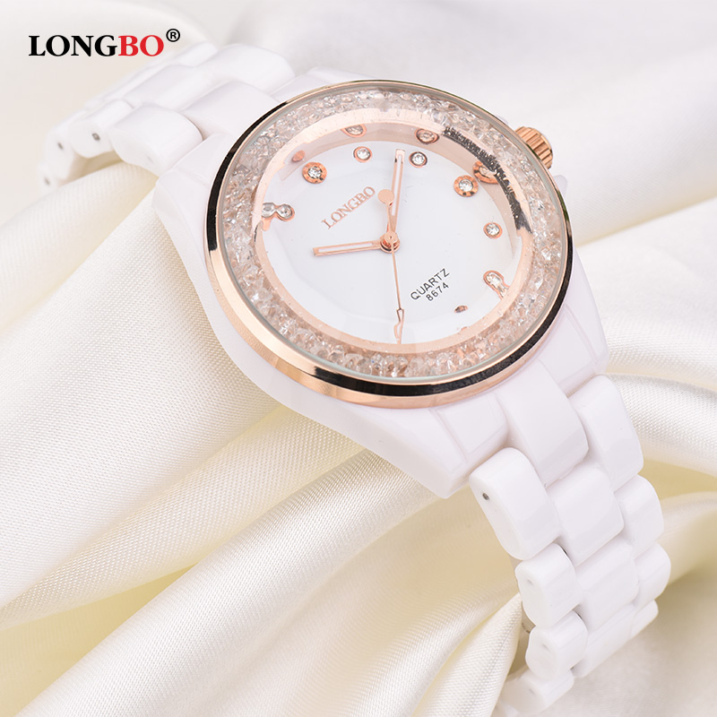 Prix pour Montre en céramique Femmes LONGBO Marque De Mode Loisirs Cristal Élégant Dames Bracelet Montre À Quartz Étanche Femelle Robe Horloge 8674