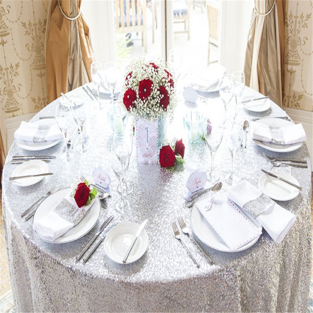 50 Round Silver Sequin Tablecloth Round Tablecloth Linen Tablecloth  In  Tablecloths From Home U0026 Garden On Aliexpress.com | Alibaba Group
