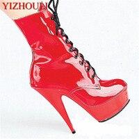 Groothandel 6 inch klassieke korte winter hoge hak enkellaarsjes Stijlvolle 15 cm Platforms Laarzen cos speler motorlaarzen Dans schoenen