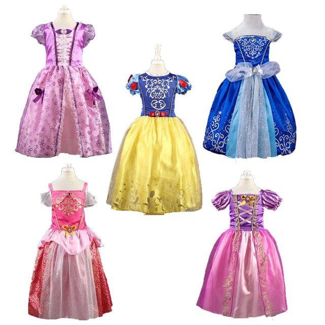 55d04a53f0 Księżniczka dziewczyny kopciuszek sukienka ubrania dla dzieci śniegu  roszpunka Aurora sukienka boże narodzenie kostium dla dzieci
