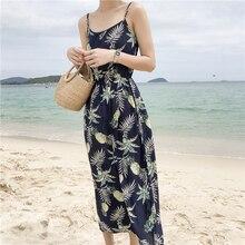 Summer Women Floral Long Dress Sling Waist Dresses Female V-neck Sleeveless Beach Maxi Dress belva women s maternity sleeveless solid maxi dress empire waist comfortable v neck ultra breathable bamboo fiber dr935