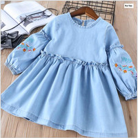 Y32066842 2018 Spring Baby Girls Dress Jean Fashion Girl Dress Embroidery Flower Girl Princess Dress Baby