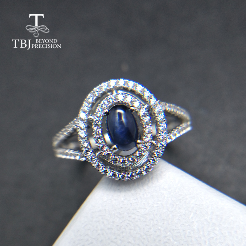 TBJ, Natural blue Sapphire oval cut 4*6mm cab 0.5ct gemstone Ring classic design Ring in 925 sterling silver for women lady gift