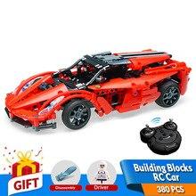 380db 2.4G távirányító építőelemek Autó Red Ferrar Modell építőelem tégla kompatibilis Legoing játékok Ajándék gyerekeknek