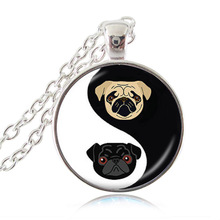 Yin Yang Pug Necklace Black and Tan Bulldog Pendant Dog Jewelry Gifts For Pug Lovers Rescue Jewellery, Glass Dome