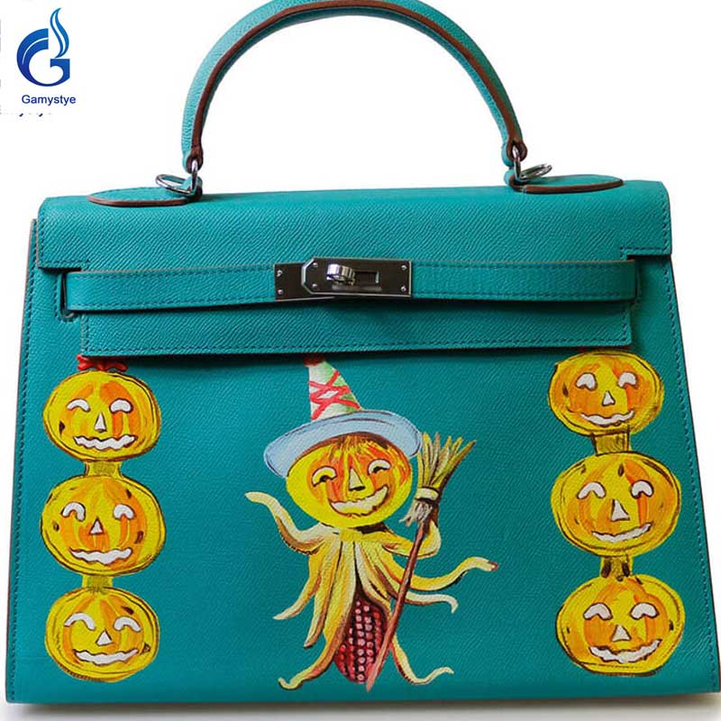 Seven beautiful pumpkin GAMYSTYE Graffiti Custom NAME bags women bag Messenger Bags Hand paint letters handbags ladies totes  YG beautiful darkness