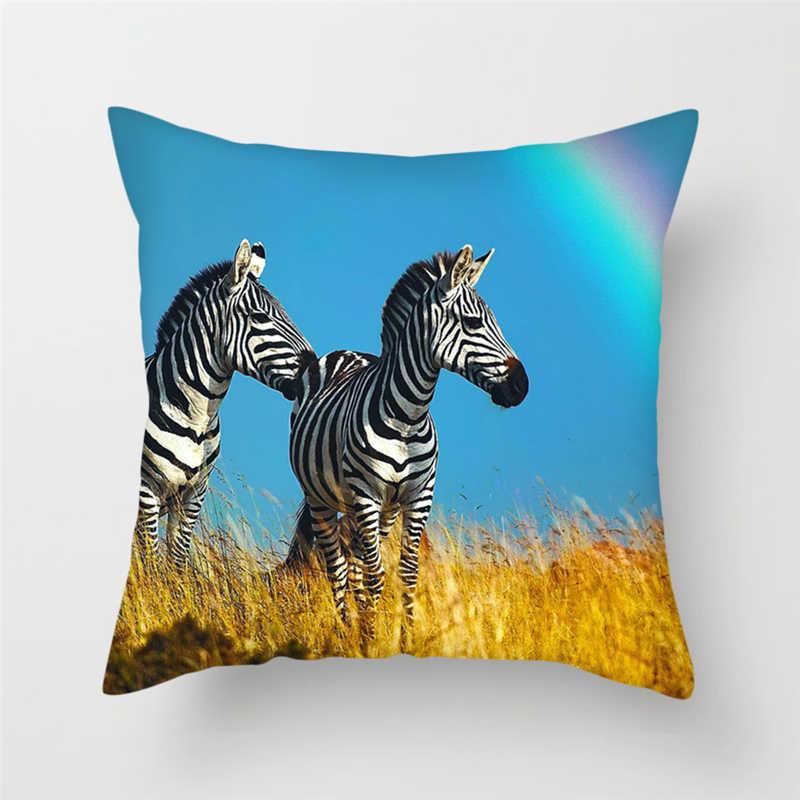Fuwatacchi Sevimli Hayvan Boyama minder örtüsü Domuz Baykuş Zebra Atmak Yastık Kılıfı çekyat Dekor Ev Dekoratif Yastıklar Kapak