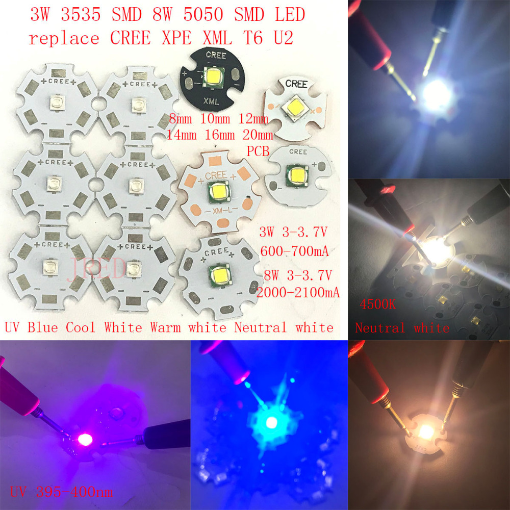 2PCS 3535 SMD 5050 SMD <font><b>3W</b></font> 8W Replace CREE XPE XPG XML T6 U2 10W red white warm <font><b>UV</b></font> blue Neutral white 8mm 12mm 14mm 16mm 20mmPCB image